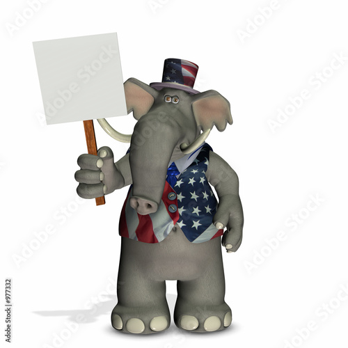 poster of political elephant with blank sign