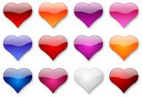coloured aqua hearts poster