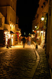 montmartre by night, paris, portrait poster