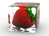 strawberry frozen in ice cube poster