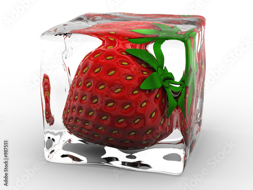 strawberry frozen in ice cube