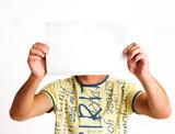 men holding sheet of paper poster