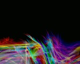 rainbow feathers & black background poster