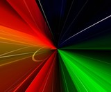 multicolor rays. green and red poster