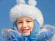 winter portrait of laughing girl