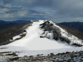 snow lake in mountains