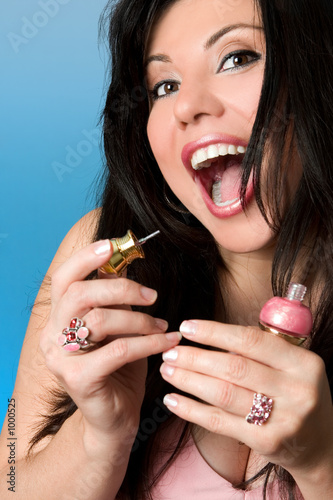 beauty - woman with pink nailpolish