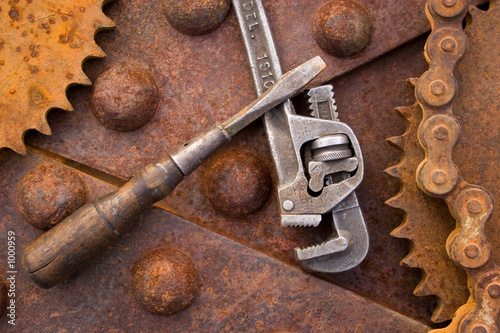old steel and tools
