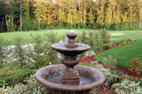 water fountain and fairway view poster