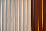 stock photo of a corrugated metal red and white ba poster