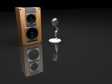 retro microphone and speaker poster