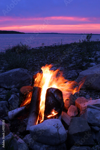 campfire on the lake