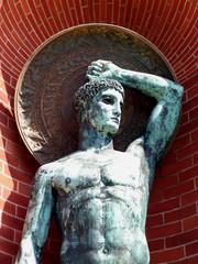 bronze statue of greek hero