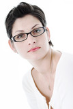 woman in trendy glasses poster