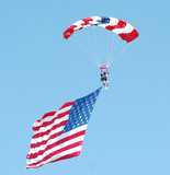 skydiver with american flag poster