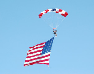 sky diver & american flag