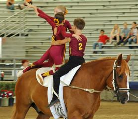 horse vaulter team performing