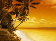 Leinwanddruck Bild island lagoon sunset
