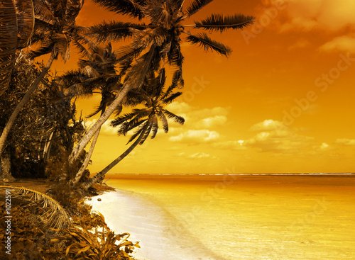 canvas print picture island lagoon sunset