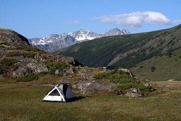 tent site in the altai mountains