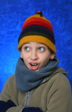 boy having fun in winter poster