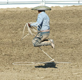 mexican cowboy doing rope trick poster