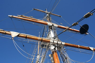 looking up sailing ship mast
