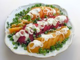 two colors tomatoes salad with green onions poster