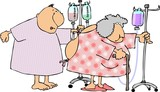 man & woman in hospital gowns poster