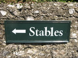 sign or access or entry to stables /horses poster