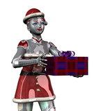 christmas robot offering gift - close cropped poster