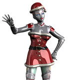 christmas robot waving - close cropped poster