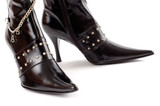 black leather boots poster