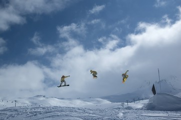 serie of a snowboarder