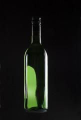 backlit wine bottle
