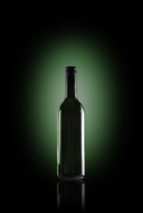 wine bottle with green backlighting