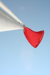 red flag on blue sky
