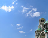 orthodox cathedral against sky. golden dome with a poster