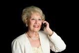 senior lady on cell phone poster