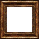 antique rustic dark golden picture frame isolated poster