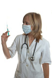 young woman doctor with syringe poster