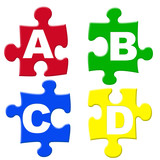 Fototapety capital abcd puzzle pieces