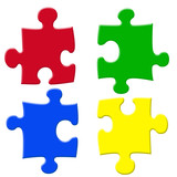 Fototapety basic colors jigsaw pieces