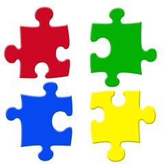 basic colors jigsaw pieces