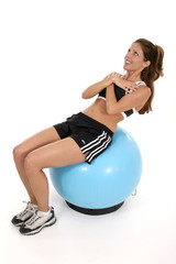 woman working out on exercise ball 3