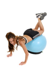 woman working out on exercise ball 6