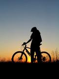 biker girl silhouette poster