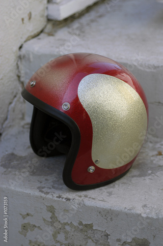 helmet on steps