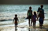 family sunset  walk on the beach - Fine Art prints