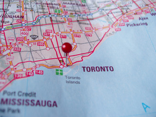 map with pin marking toronto